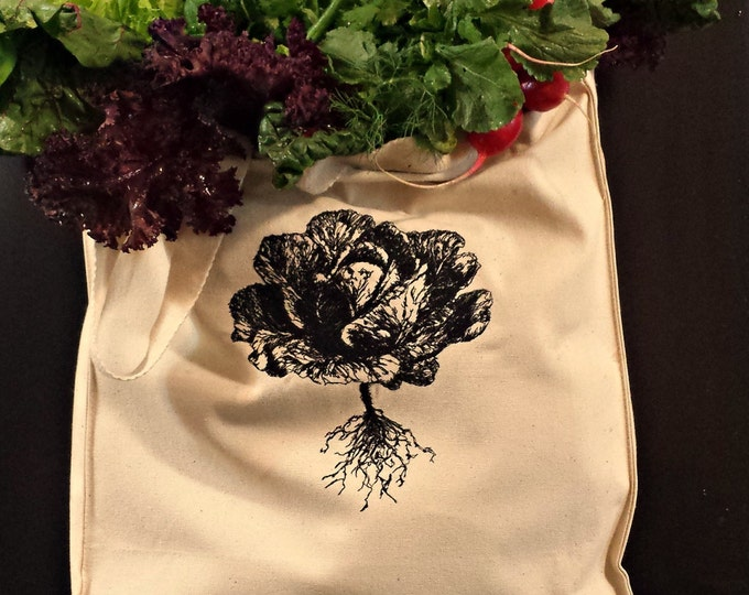 Farmer's Market Lettuce Embroidered Vintage Graphic Reusable Tote.