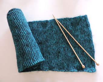 Turquoise blue scarf (Merino) and black (mohair)