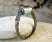 Raw green tourmaline ring   Copper electroformed raw green tourmaline ring   Raw golden-green tourmaline electroformed ring