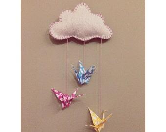 Handmade Personalised Cloud Origami Hanging Mobile