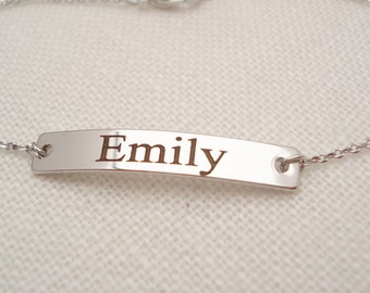 Personalized Bracelet...Engraved silver Bar, custom jewelry, sorority, best friend gift, wedding, bridesmaid gift, Coordinates