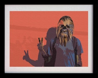 Chewbacca Chewie Peace Star Wars (Limited Edition of 100) - A3 Star Wars Poster Art Print Illustration Fantasy Decor Wall Art Gift Rare
