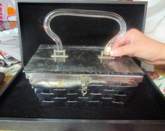 Vintage lucite and woven metal handbag