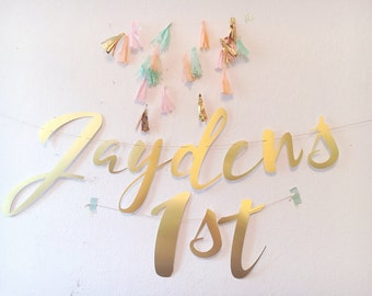 Large Cursive- Script- Milestone Personalized Birthday Banner - Gold Satin Birthday Banner