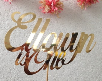 Gold Cursive Cardstock Metallic Cake topper - other colors and finishes available
