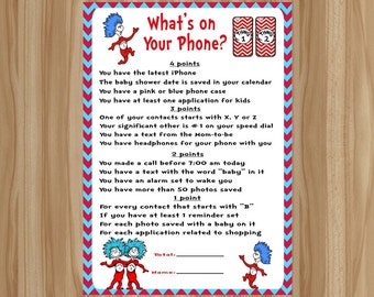 Dr. Seuss Baby Shower Game, Thing 1 Thing 2 Baby Shower Game, Thing