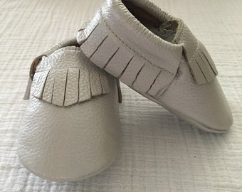 Silver Leather Moccasins