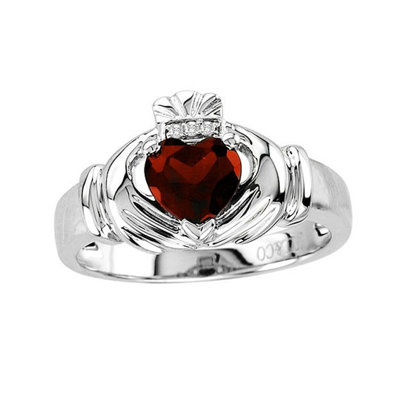 Claddagh sterling silver garnet deep red heart diamond accent for Garnet wedding ring meaning