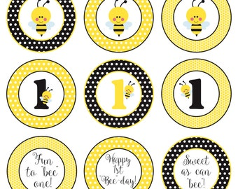 INSTANT DOWNLOAD 1st Birthday Bumble Bee Centerpieces *9 Different Designs!*