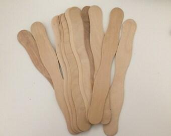 Set of 11 Wood Wavy Edge Sticks , Unfinished Wood, DIY Wood Crafts, Wavy Popsicle Sticks, Paintable Wood, DIY Kids Craft, Popsicle Craft
