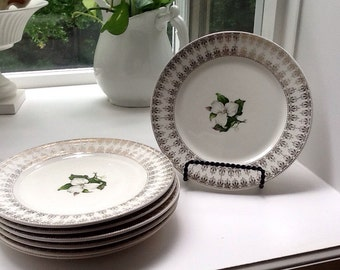 Trillium by American Limoges L'Exquisite Set of 7 Salad/Dessert Plates