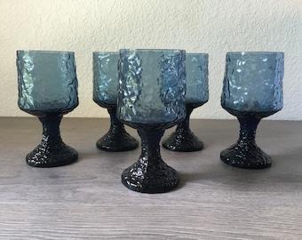 Vintage Lenox Blue Crystal Goblets - Set of 5