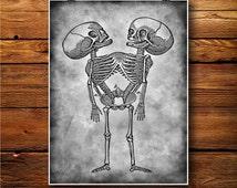Siamese Print, Skeleton Decor, Twins Art, Aliens Illustration BW220