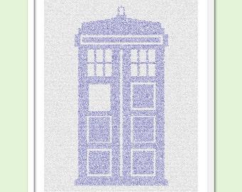 TARDIS - Colour Doctor Who Text Art Print