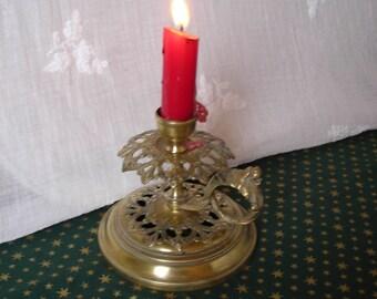 Old French Candleholder. Vintage Brass Candleholder.