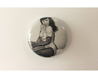 "1"" Bettie Page pin back button"