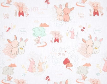 peach Littlest Baby Crib Fitted Sheet, littlest, mint, peach, dandelions, bunny , baby, fitted sheet, custom sheet