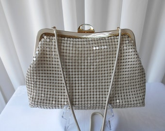 Vintage Cream Mesh Evening Purse Handbag 1980's  #20001