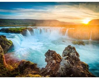XEE318 Poster Print Landscape Iceland Godafoss at sunset beautiful Waterfalls