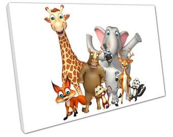 Cartoon ZOO Wild Animals canvas WALL ART C2631
