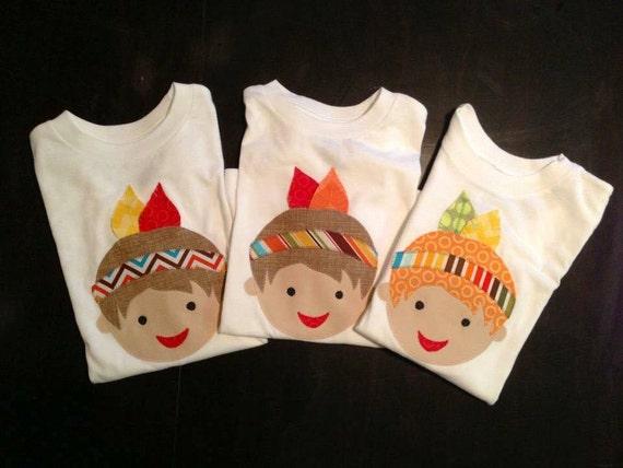Thanksgiving Boy Feather Headdress Indian Native American Tee Girl OR Boy!