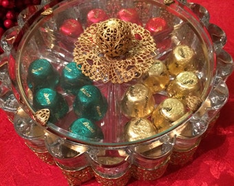 Vintage Gold Filigree and Glass Candy Dish, 1940s