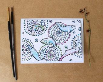 Whale card- Print