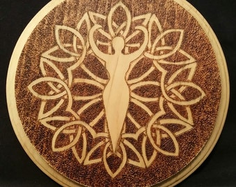 Celtic Goddess Wood Burned Altar Tile