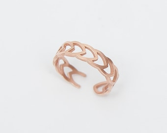 Rose Gold Adjustable Ring - Minimal Ring - Flowerheart - Silver 925