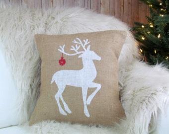 Burlap Pillow- Reindeer Pillow, Christmas Pillow, Holiday Decor, Deer Pillow, Christmas Decor