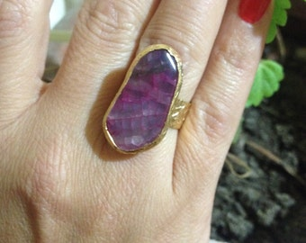 Gemstone Ring , Gold Filled Ring, Handmade Ring, Adjustable Ring, Purple ring