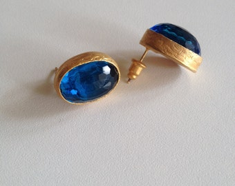 Earring, Gemstone Earring, Handmade Earring, Blue Earring, Gold plate Earring,Gold Filled Earring, Birthday gift,  Gift  for  Her,