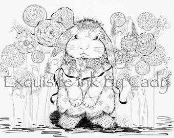 Spring Bunny Delight Download Coloring Page