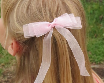 Pink organza hair bow, triple loop hair bow, girl's barrette, hair accessory