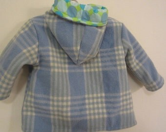 Toddler jacket - vintage wool blanket, blue dots