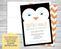 Penguin Party Invitations + Envelopes - Cute Kid's Birthday - Digital or Professionally Printed + SHIPPING INCLUDED