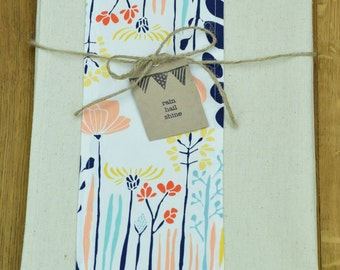 Unbleached Hemp and Organic Cotton Tea Towel with Floral Feature