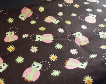 "Cute Owls & Flowers Fabric Remnant, 1yd x 42"" W"