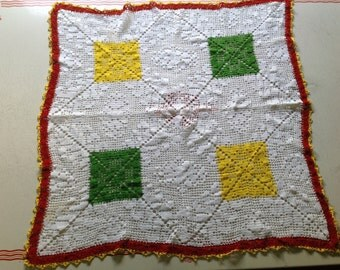 Crocheted Crochet Furniture Tablecloth Dresser Scarf Cloth Cheerful Bright White Red Yellow Green Handmade 28 x 28 Square