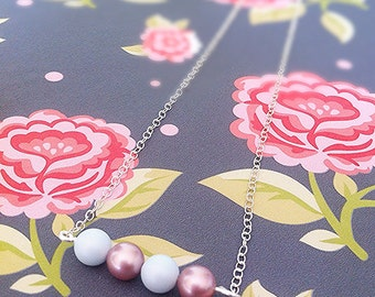 Pastel Blue and Pink Pearl Bar Necklace - Swarovski Pearls Bar Necklace - Dainty Bar Necklace - Pink Pearl Bar Necklace - Pastel Neclace