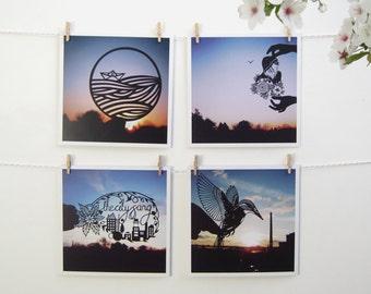 Flat Card Set / Mini Print Set - Papercut Sunset Photos