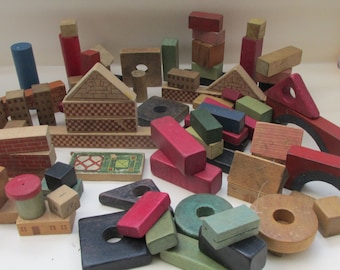Box of Vintage Wooden Blocks and Shapes - Houses/Bricks/Cubes/Arches/Towers
