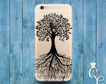 iPhone 4 4s 5 5s 5c SE 6 6s 7 plus iPod Touch 4th 5th 6th Gen Clear Cover Custom Black Transparent Tree of Life Apple Cool Art Phone Case