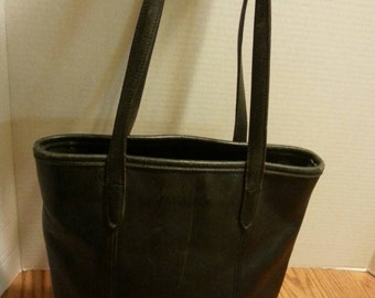 Authentic Coach Vintage Black Leather Lunch Tote bag purse. 1970's.