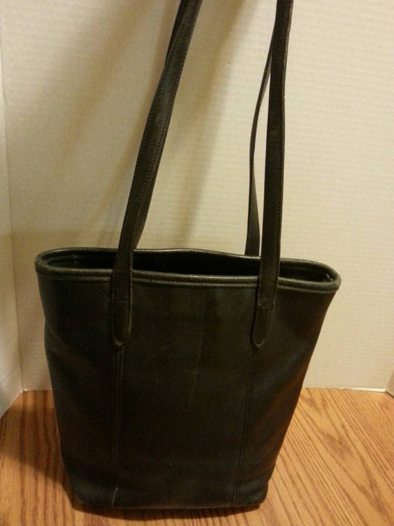 Authentic Coach Vintage Black Leather Lunch Tote bag purse. 1970's.