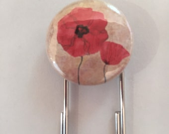 Fun Paperclip Bookmark with Poppies