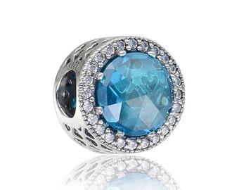 Crystal Blue Hearts Bead Charm, fits Trollbeads