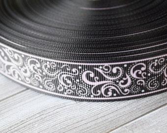"Damask swirl design - Fancy printed ribbon - 3 or 5 yards - 7/8"" grosgrain - Pink and black - Headband material - DIY hair bows"