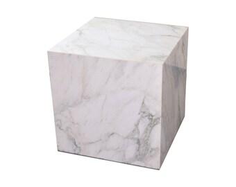 Vintage Mid-Century Modern Figured Marble End Table Display Cube