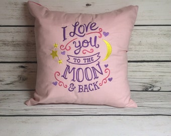 14x14 embroidered I love you to the moon and back cushion **REDUCED**